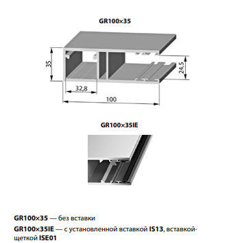 Шина направляющая GR100x35IE